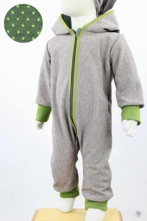 Softshellanzug braun meliert, Punkte auf grün