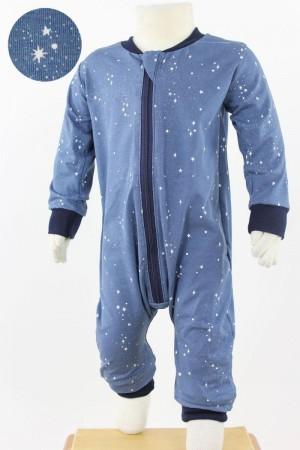 Strampelanzug blau mit Sternen BIO-STOFFE