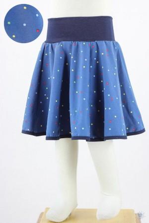 Kinder-Tellerrock mit bunten Punkten auf blau