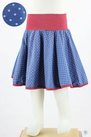 Kinder-Tellerrock mit hellblauen Punkten auf blau