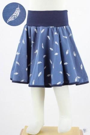 Kinder-Tellerrock mit Federn auf blau