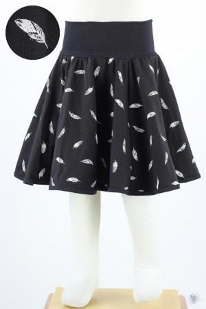 Kinder-Tellerrock mit Federn auf schwarz