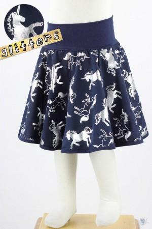Kinder-Tellerrock mit silbernen Einhörnern auf marine, mit *GLITZEREFFEKT*