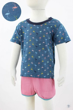 petrol Kinder-T-Shirt mit Flamingos