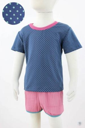 dunkelblaues Kinder-T-Shirt mit türkisen Punkten