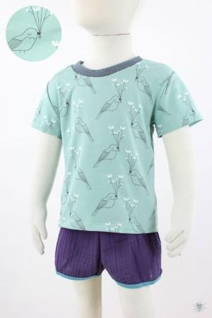 mintgrünes Kinder-T-Shirt mit Wintervögeln