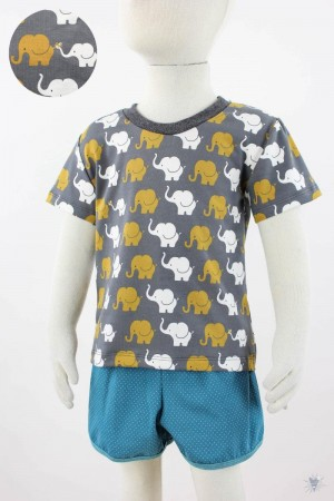 dunkelgraues Kinder-T-Shirt mit Elefanten