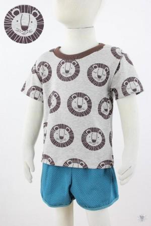 graues Kinder-T-Shirt mit brauen Löwen