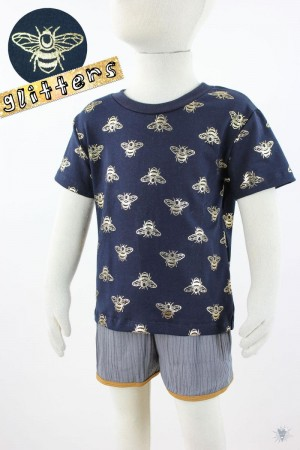 marine Kinder-T-Shirt mit glitzernden Goldbienen