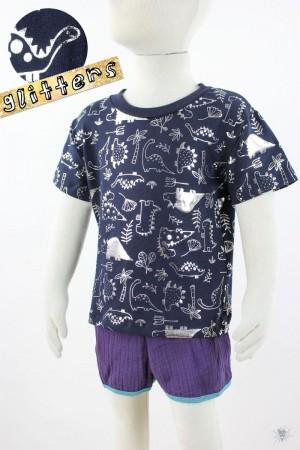 marine Kinder-T-Shirt mit glitzernden Dinos 98/104