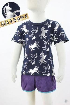 marine Kinder-T-Shirt mit glitzernden Einhörnern