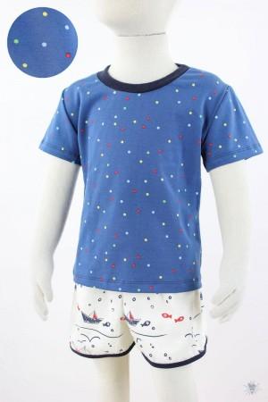 blaues Kinder-T-Shirt mit bunten Punkten