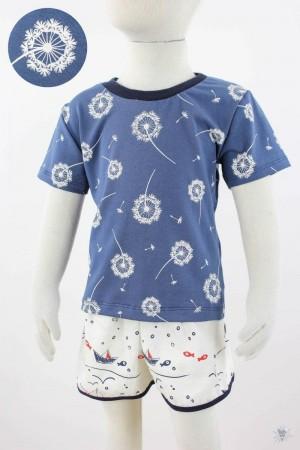 blaues Kinder-T-Shirt mit Pusteblumen
