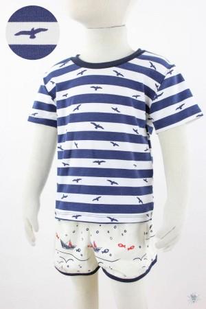blau weiß gestreiftes Kinder-T-Shirt mit Vögeln
