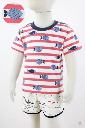 rot weiß gestreiftes Kinder-T-Shirt mit Fischen