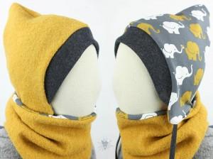 Kinder-Wollmütze, wendbar, gelb mit Elefanten auf grau