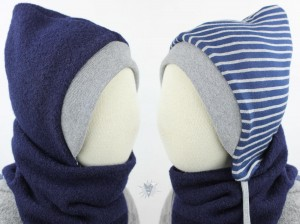 Kinder-Wollmütze, wendbar, marine mit blau-grauen Streifen
