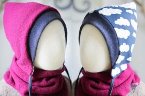 Kinder-Wollmütze, wendbar, pink mit Wolken auf blau