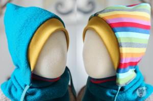 Kinder-Wollmütze, wendbar, türkis mit Regenbogen