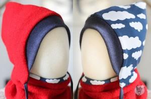 Kinder-Wollmütze, wendbar, rot mit Wolken auf blau