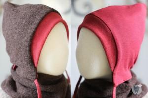 Kinder-Wollmütze, wendbar, braun mit rot