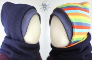 Kinder-Wollmütze, wendbar, marine mit Regenbogen