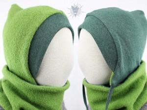 Kinder-Wollmütze, wendbar, grün mit dunkelgrün