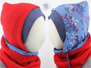 Kinder-Wollmütze, wendbar, rot mit Kolibris