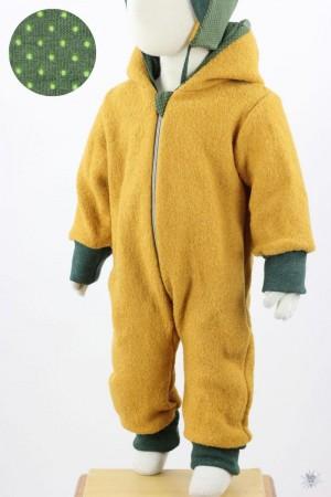Kinder-Wollanzug gelb mit Punkten auf grün 110/116