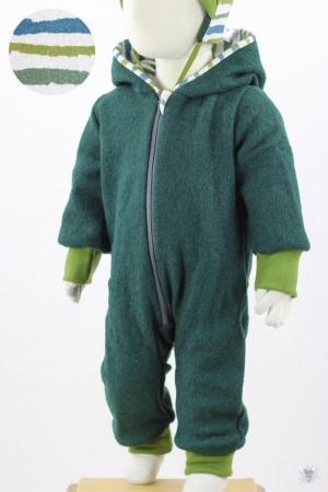 Kinder-Wollanzug dunkelgrün mit Naturstreifen