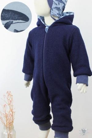 Kinder-Wollanzug dunkelblau mit Walen, wächst mit