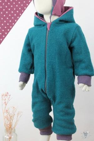Kinder-Wollanzug smaragd, Punkte auf beere