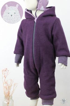 Kinder-Wollanzug lila, Schafe auf beere, wächst mit