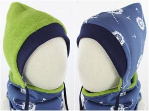 Kinder-Fleecemütze zum Wenden grün meliert mit Pusteblumen auf blau