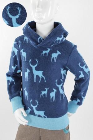 Kinder-Fleecepulli blau mit Waldtieren 98/104