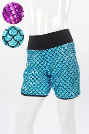 glitzernde kurze Hose mit Fischschuppen-Muster in blau oder pink