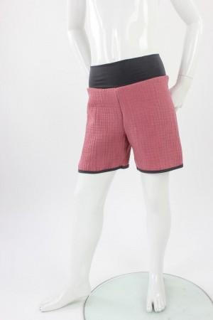 kurze Hose für Kinder Bio-Musselin dunkelrosa