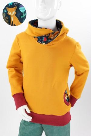Kinder-Kapuzenpulli gelb mit Mohnfüchsen - rot melierte Bündchen