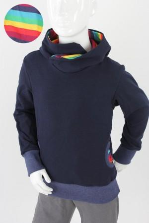 Kinder-Kapuzenpulli marineblau mit Regenbogenstreifen