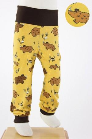 Kinder-Leggings gelb mit Wollnashörnern