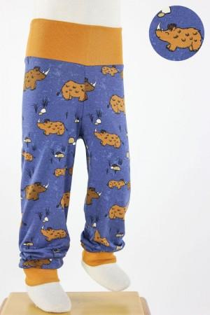 Kinder-Leggings blau mit Wollnashörnern