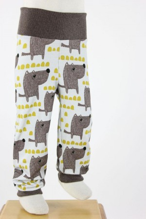 Kinder-Leggings natur mit Hunden