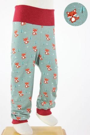 Kinder-Leggings mintgrün mit Füchsen
