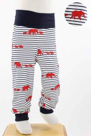 Kinder-Leggings weiß blau gestreift mit roten Elefanten