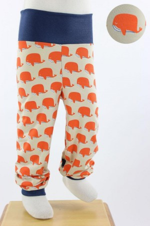 Kinder-Leggings beige mit Walen in orange