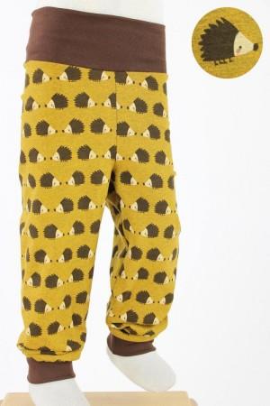 Kinder-Leggings gelb mit Igeln GOTS