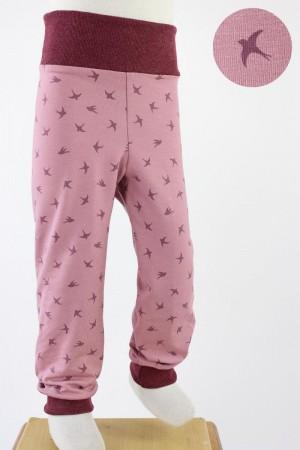 Kinder-Leggings rosa mit Vögeln