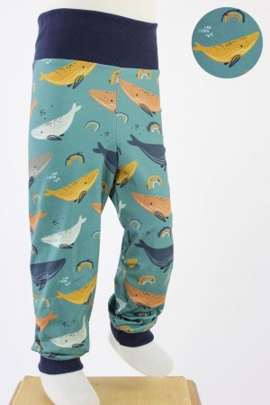 Kinder-Leggings meeresgrün mit Walen