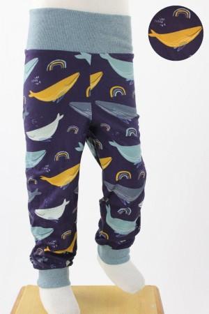 Kinder-Leggings dunkelblau mit Walen