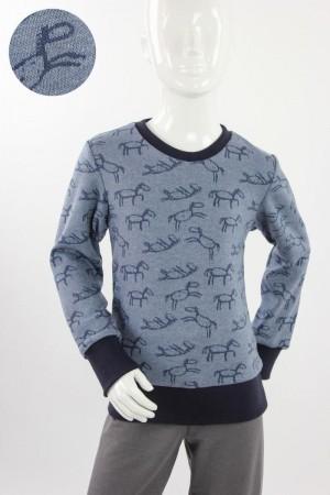 Kinder-Longsleeve aus Jacqard-Jersey mit Pferden blau